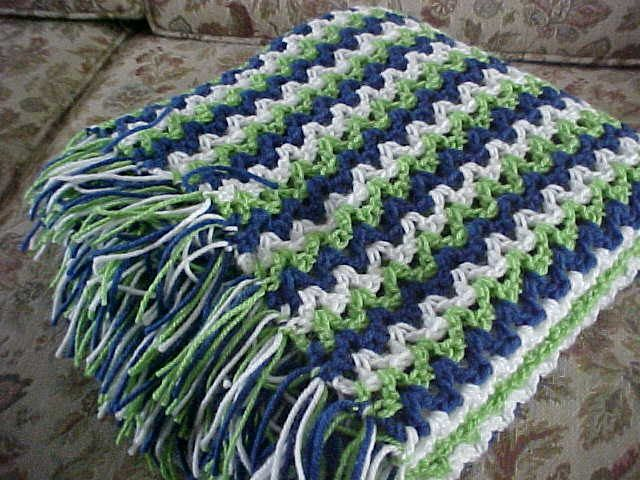 Seattle Seahawks Colors Inspired Handmade Crochet Afghan Blue Green ...