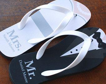 Mrs Mr Flip Flops Bride And Groom Flip Flops Print Design As Pictured With Mrs On Wedding Flip Flops For Guests Personalized Flip Flops Wedding Flip Flops