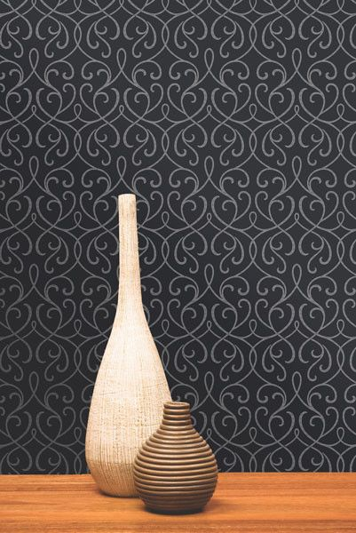 $31 Alouette Mod Swirl Wallpaper in Charcoal design by Brewster Home Fashions 56 sq ft.