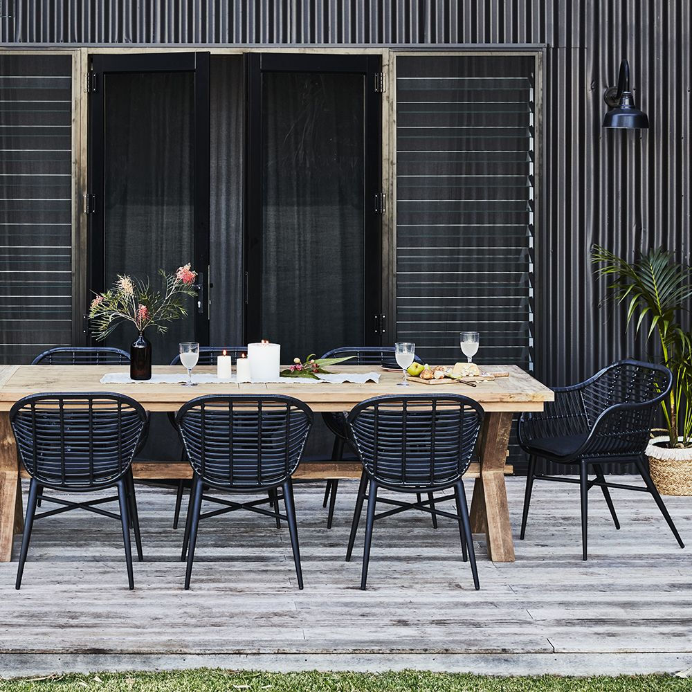 From Afar This Reclaimed Teak Dining Table Has A Simple Refined Silhouette But Move Closer And Outdoor Dining Spaces Outdoor Dining Set Outdoor Patio Table