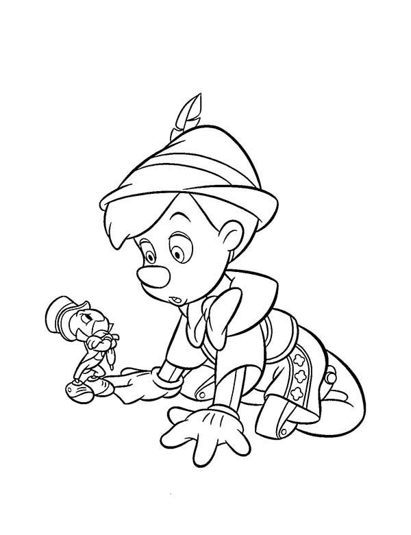 Pinocchio Talking To Jiminy Cricket Coloring Pages Disney