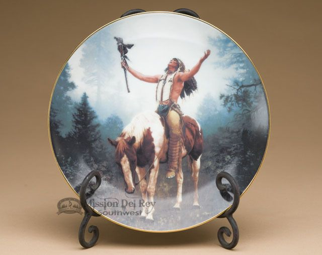 Native America Collector Plate \u0026 Stand from The Hamilton Collection the Mystic Warriors - Deliverance by Chuck Ren (plt28) & Native America Collector Plate \u0026 Stand from The Hamilton Collection ...