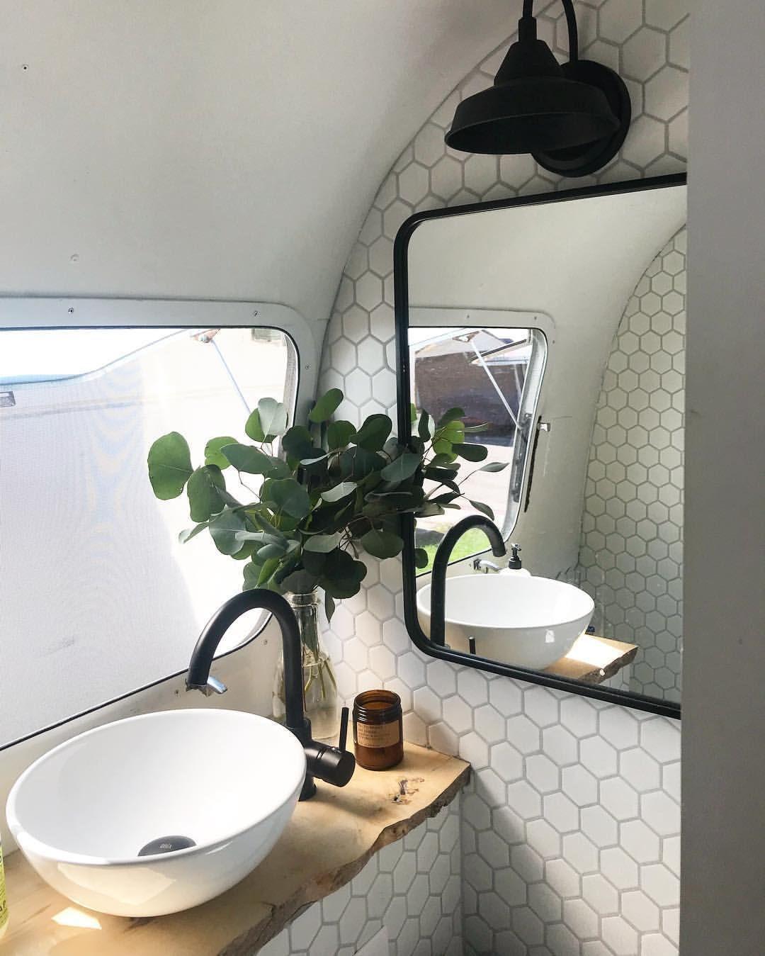 Airstream Bathroom Renovation Hex Tile Wall And Beautiful Faucet And Sink Bathroomrenovations Airstream Bathroom Caravan Makeover Camper Decor [ 1349 x 1080 Pixel ]