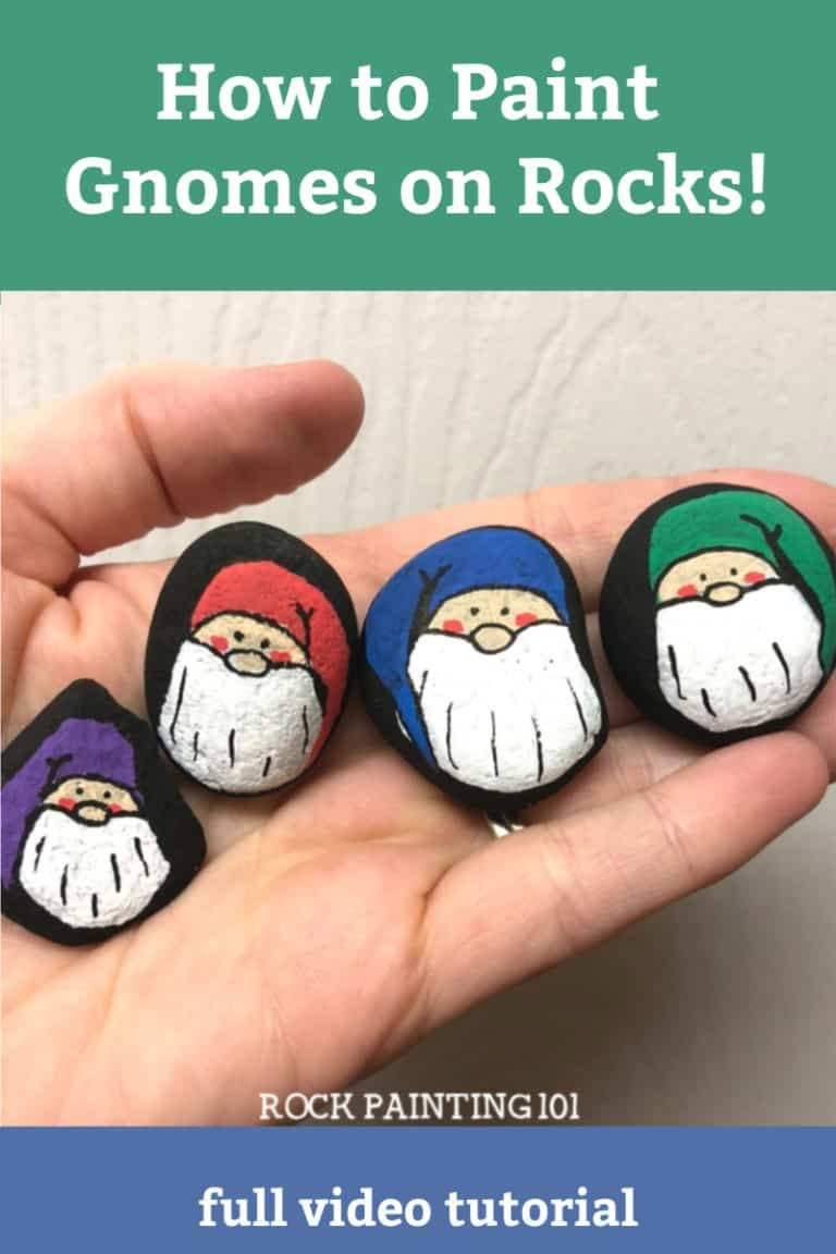 How to make adorable Christmas gnome painted rocks - Rock Painting 101