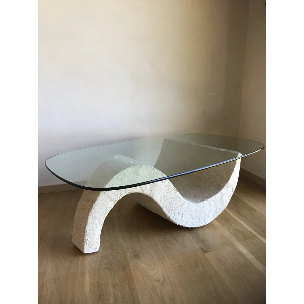 Vintage Mid Century Post Modern Sculptural Minimalist Plaster Wave Coffee Tabl Minimalist Coffee Table Mid Century Glass Coffee Table Modern Glass Coffee Table [ 1000 x 1000 Pixel ]