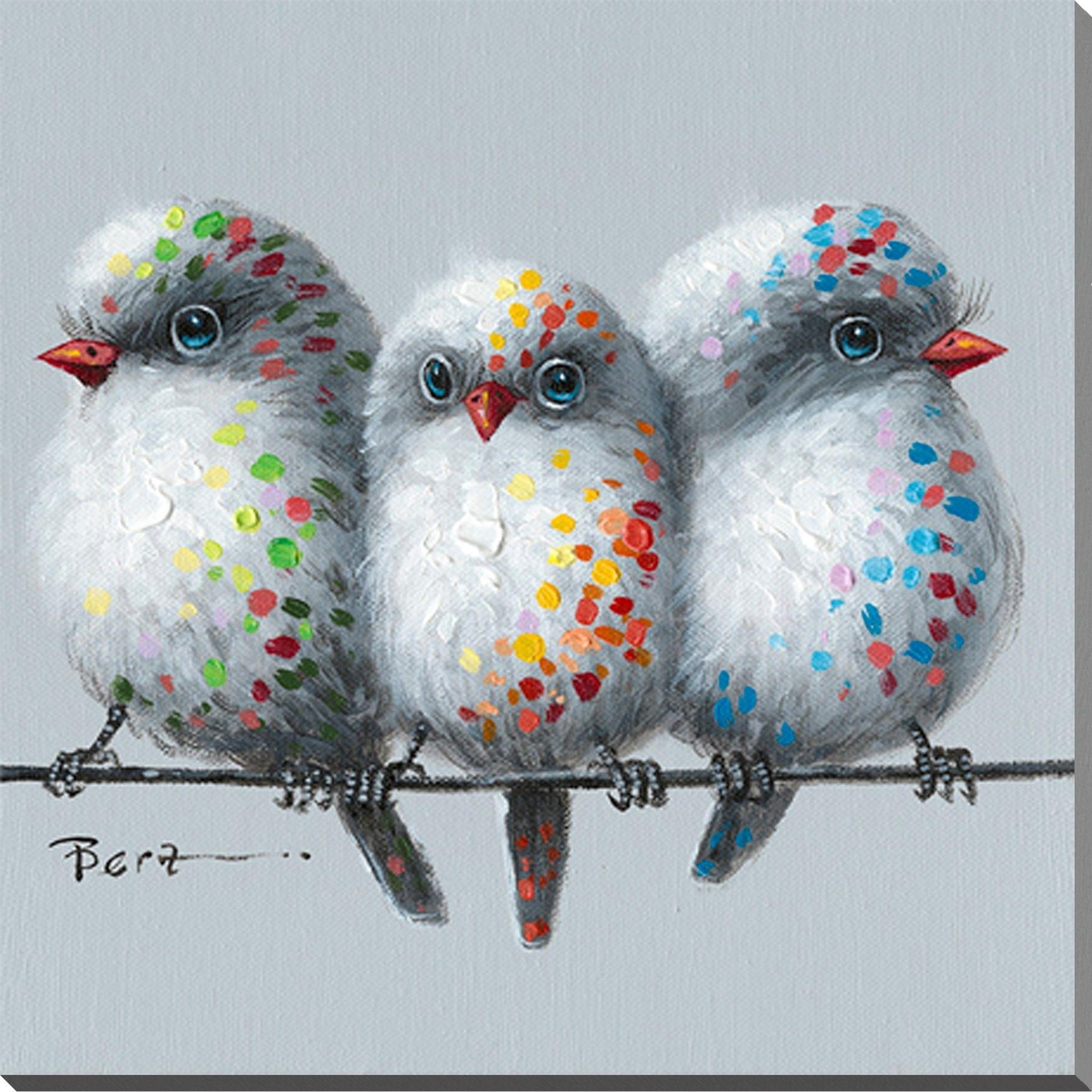 peinture l 39 huile avec image d 39 oiseaux id e de bonheur. Black Bedroom Furniture Sets. Home Design Ideas