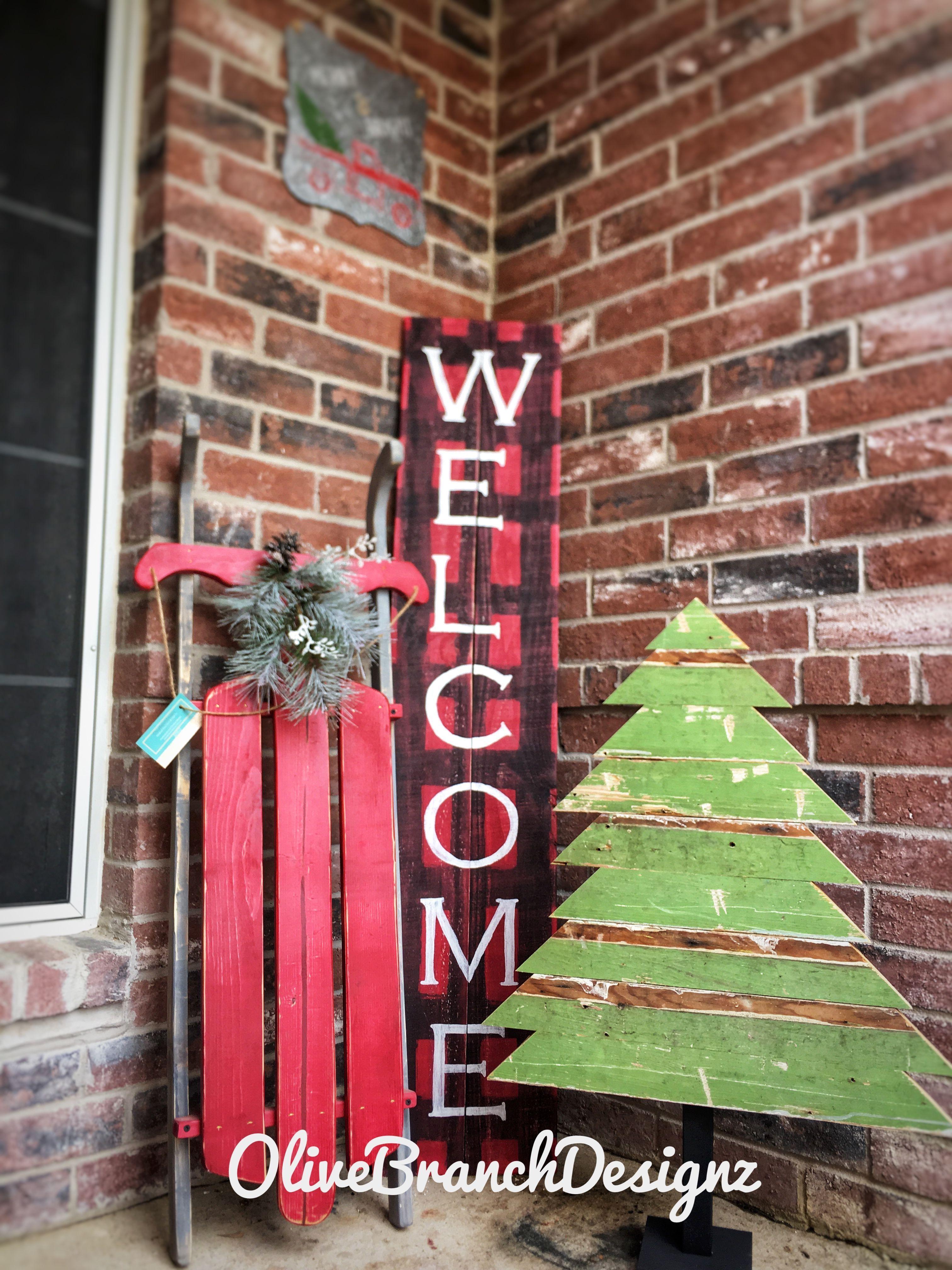 Christmas Porch Decor Decorations Homemade Sled Buffalo Plaid Welcome Sign Reclaimed Christmas Sled Decoration Christmas Tree Decorations Xmas Tree Decorations