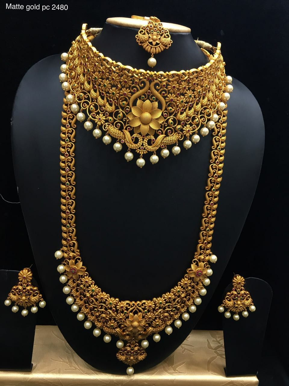 428d1194ef Beautiful semi bridal set. Beautiful one gram gold necklace with lotus  design. Neckalce with pearl hangings. Antique Long haaram with one gram gold  and ...