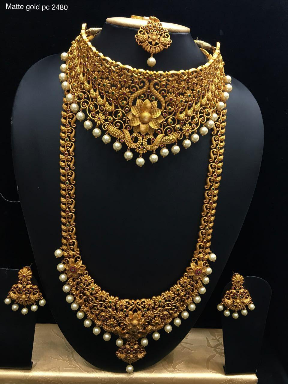 Beautiful Semi Bridal Set Beautiful One Gram Gold Necklace With Lotus Design Bridal Gold Jewellery Gold Jewellery Design Gold Necklace Indian Bridal Jewelry