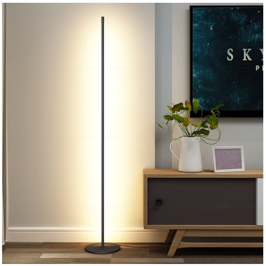 Mondern Led Floor Lamp Vertical Strip Round Stick Floor Light Bedroom Art Decor Living R In 2020 Standing Lamp Living Room Lamps Living Room Living Room Light Fixtures
