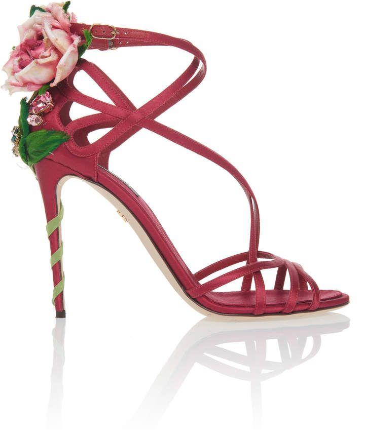 Dolce & GabbanaFloral-Appliquéd Suede Sandals