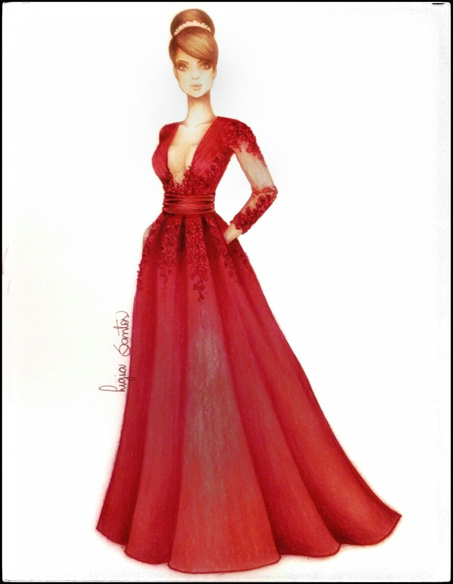 Croquis Moda Design Style Fashion Dress Red Sketch Illustration Croquis By Ligia