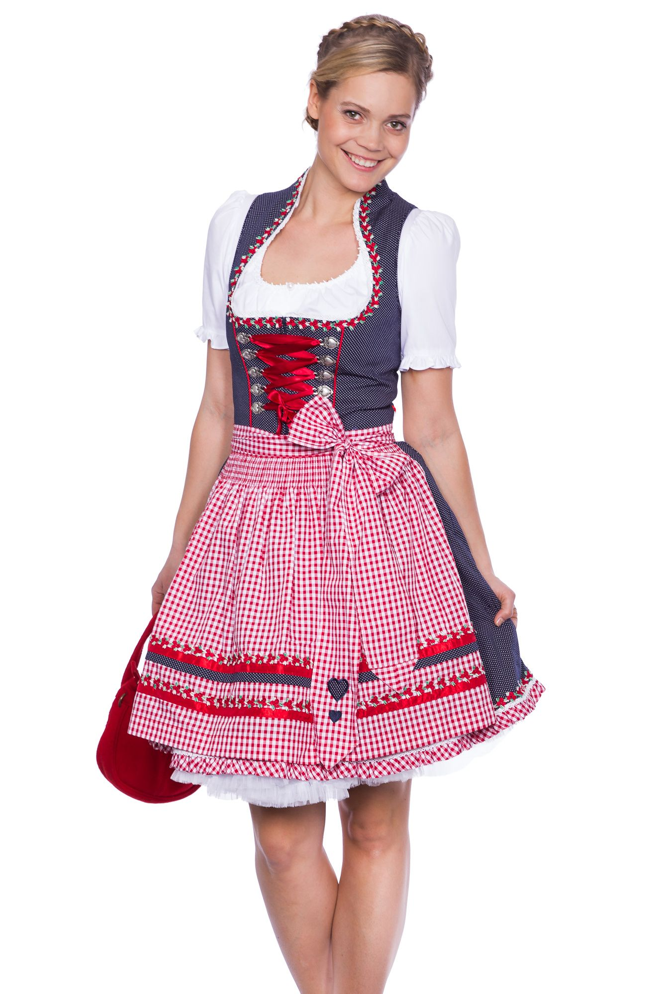 klassisches mini dirndl in rot und blau von kr ger madl. Black Bedroom Furniture Sets. Home Design Ideas