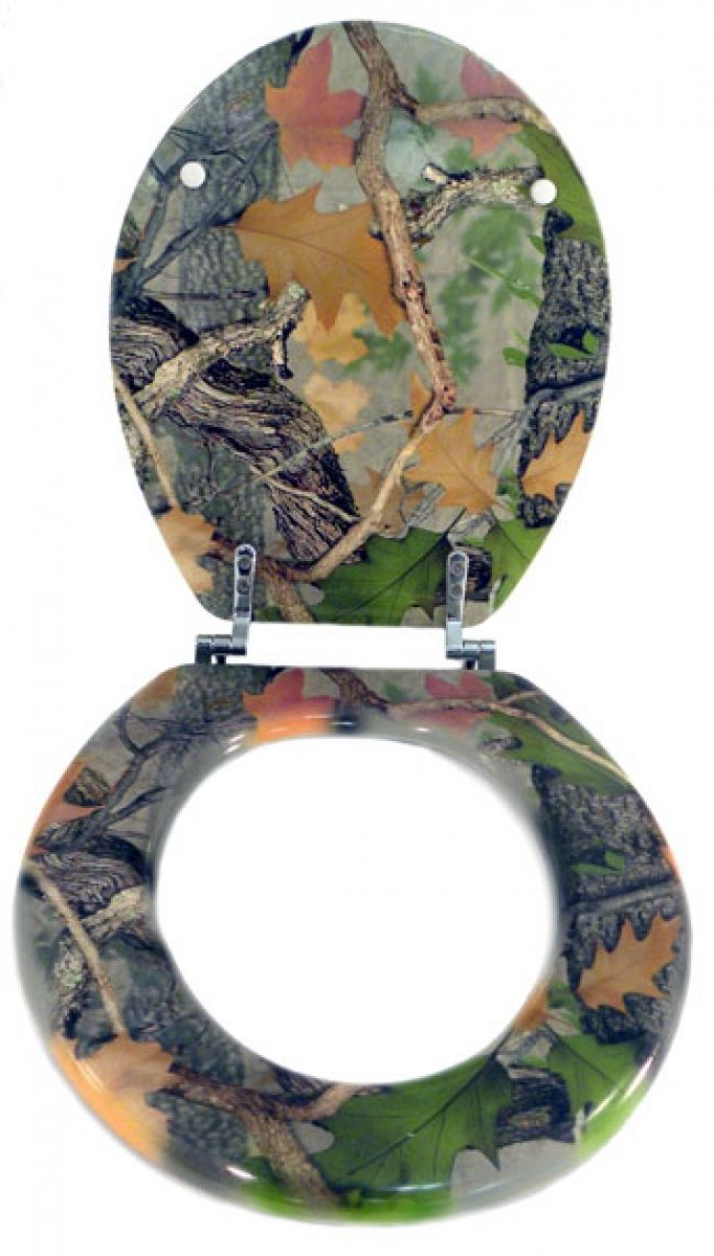 5b1a4a80c4b Where did the toilet go  This camouflage toilet seat is perfect for any  hunter s bathroom! It features a CB Outdoor camo pattern on the seat and  both sides ...