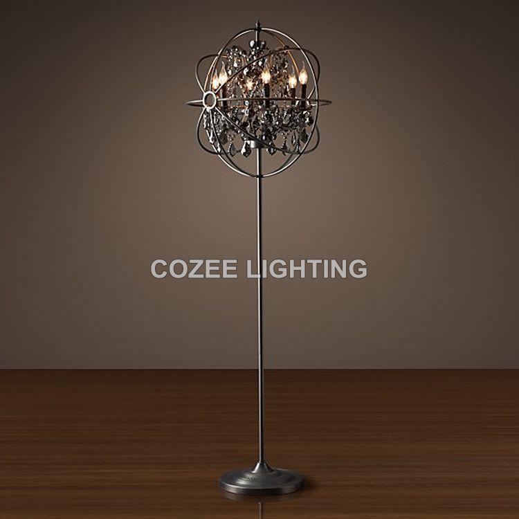 vintage crystal floor lamp standing lighting led orb cristal floor light indoor lighting home restaurant living - Standing Lights For Living Room