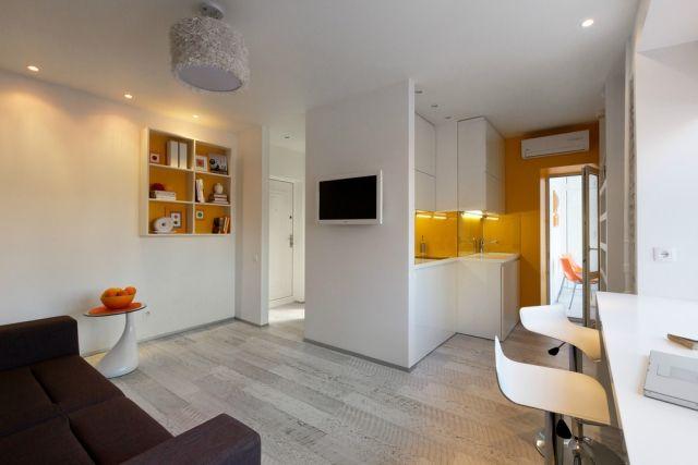 studio wohnung einrichten stil weiß ocker gelb modern L!v!n-r00m - wohnzimmer gestalten gelb