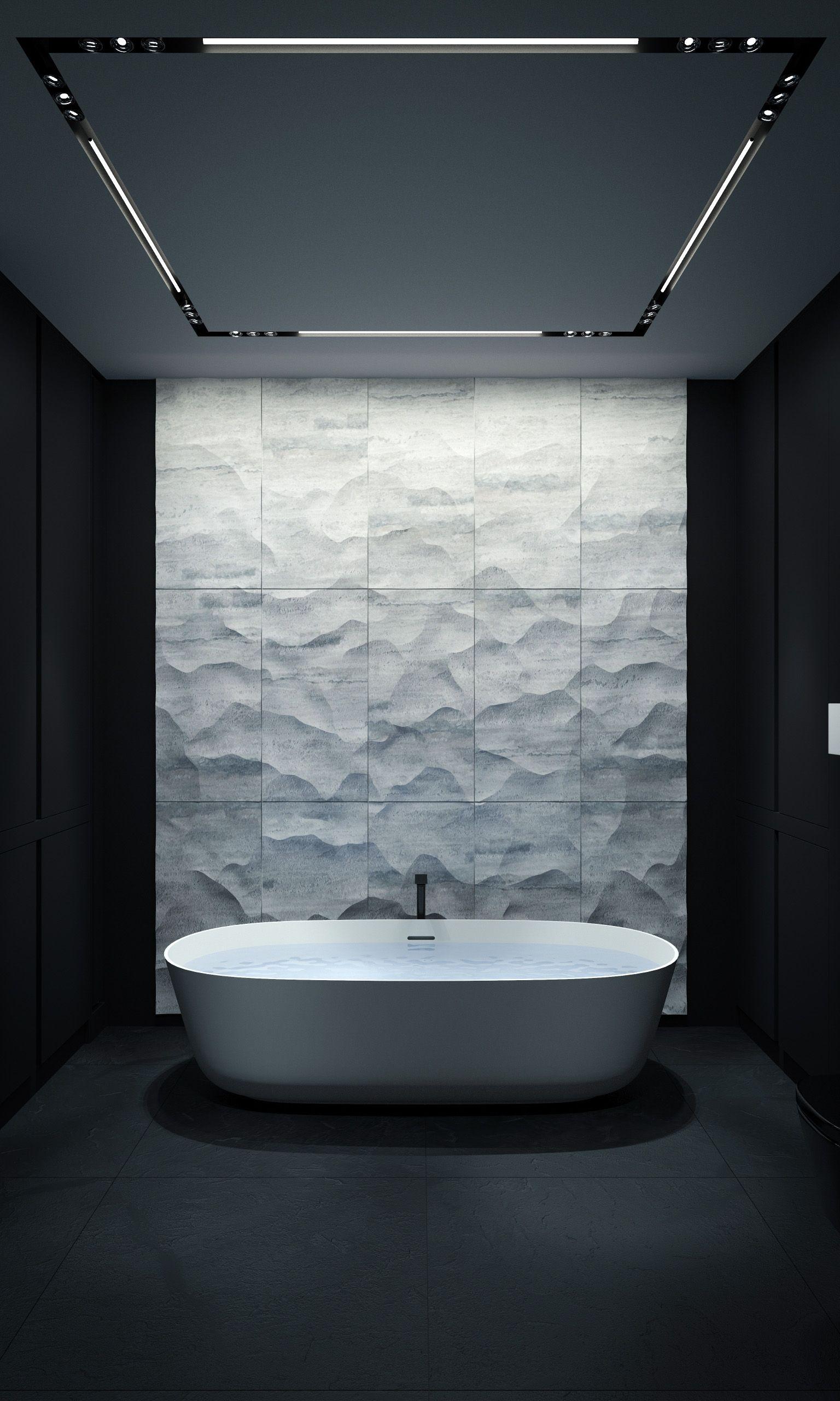 Minimalist Masculine Bathroom In Black And White BATHROOM | KERZMAN #marble  #minimalist #shadows