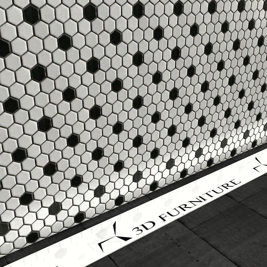 Hexagon Mosaic Tiles Vray material 0.00 Bodenbelag