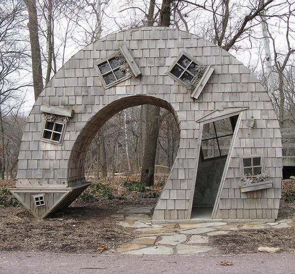 Crooked House in Indianapolis Art Center.