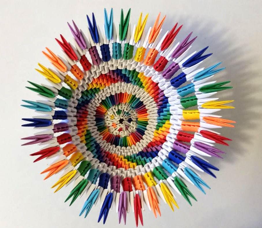 3d Origami Rainbowwhite Vase Por 3dorigamiartstudio En Etsy Paper