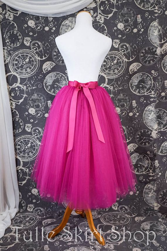 5fb544c56 Hot Pink Tulle Skirt With Ribbon Waistband - Adult Tea Length Fuchsia Tutu  - Midi Skirt - Custom Siz