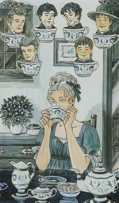 Seven of Cups (Teacups) - The Tarot of Jane Austen by Diane Wilkes, Lola Airaghi
