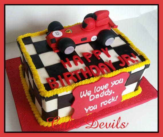 Race Car Fondant Cake Topper Handmade Edible Sports Cake Topper