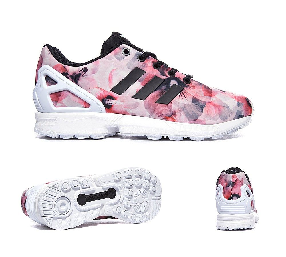 adidas Originals Junior ZX Flux Print Trainer | Black / White | Footasylum