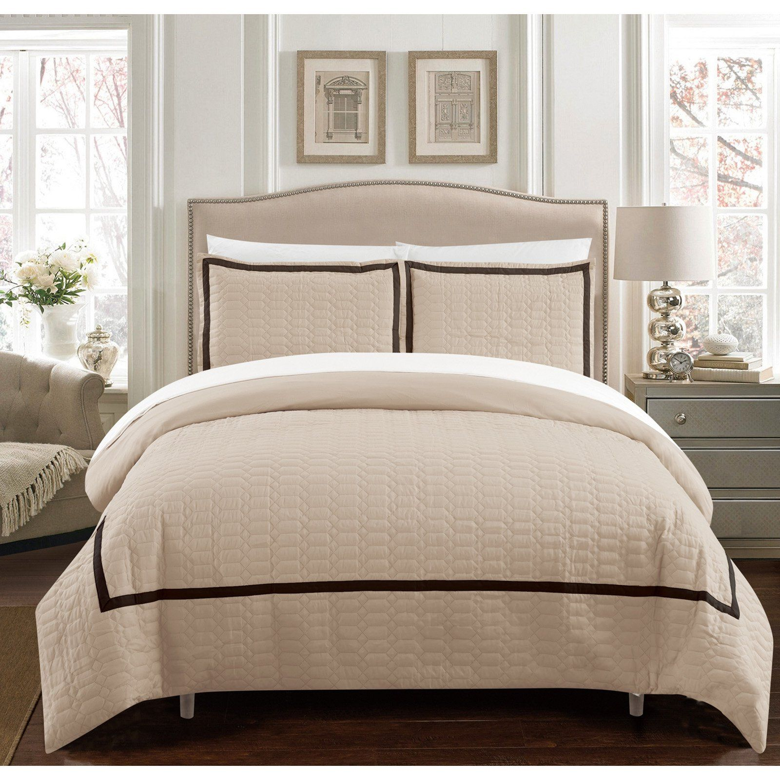 Krystel Duvet Set With Sheets By Chic Home Beige Size Twin Xl