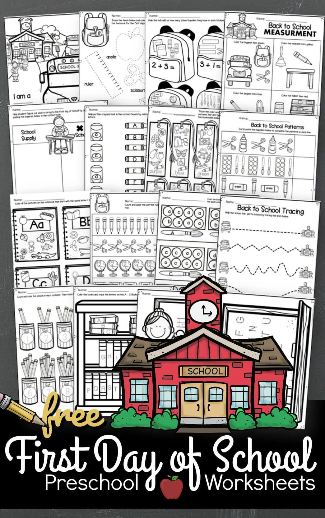 Free First Day Of School Preschool Worksheets