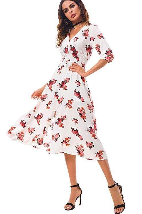 3436c6fc9e5a Cantonwalker Women s Dress Deep V-Neck Casual 2018 Summer 3 4 Sleeve Beach  Dress Holiday Dress Waist Tie Printed Dress 0058