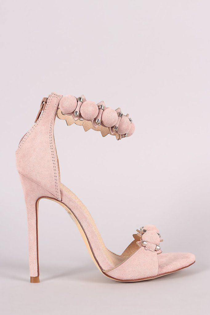 0ca185c9535 Suede Bullet And Button Ankle Cuff Stiletto Heel