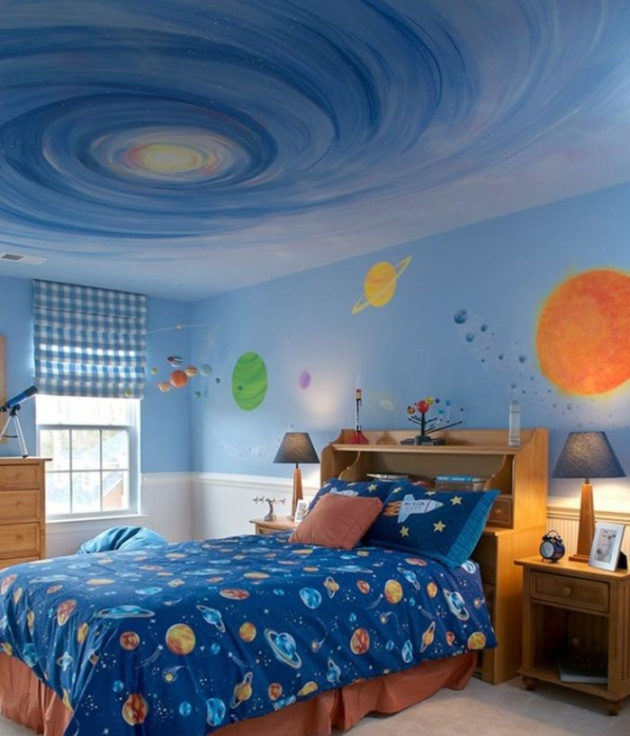 15 Fun Space Themed Bedrooms For Boys Outer Space Bedroom Bedroom Themes Space Themed Bedroom