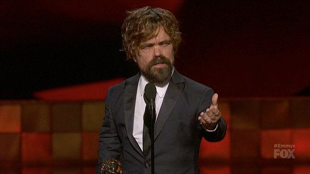 Highlights: Peter Dinklage accepts his second Emmy for Outstanding Supporting Actor at 2015 Emmy Awards. The Emmy was for his portrayal of cunning Tyrion Lannister on the hit HBO series Game of Thrones.