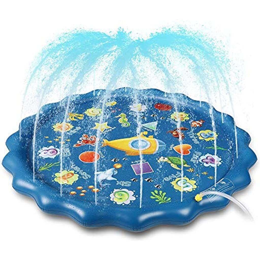 Splash Spielmatte Kleinkind Kinder Sprinkler Pad 170cm 67 Aufblasbares Wasserspielfeld Wasserspielsprinkler Im Frei In 2020 Wasserspielzeug Sprinkler Pools Fur Kinder