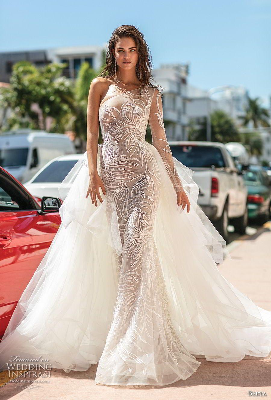 Berta Spring 2019 Bridal Long Sleeves One Shoulder Neckline Full Embellishment Tiered Skirt Glamorous Fit And Flare Wedding Dress A Line Overskirt