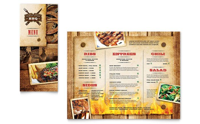 Steakhouse BBQ Restaurant Take-out Brochure Design Template by - dinner menu templates free