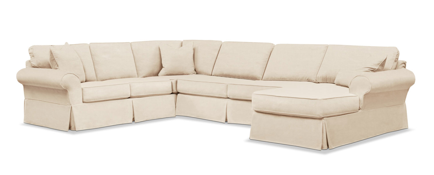 Sawyer 3 Piece Slipcover Sectional Sofa With Right Facing Chaise Beige In 2020 Sectional Sofa Slipcovers Sectional Sofa With Chaise Sectional Slipcover