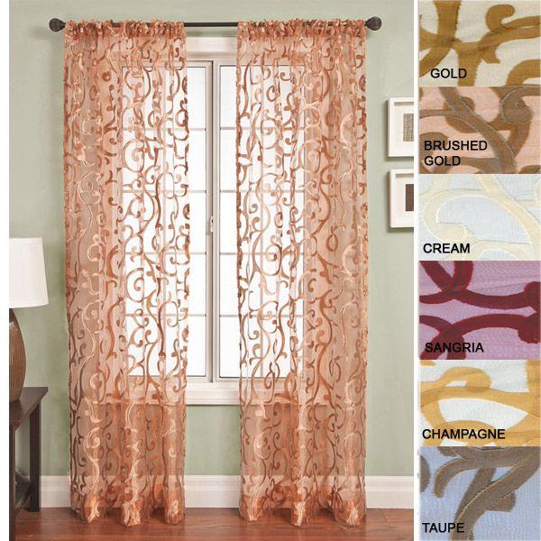 84 Long Panel Amalfi Embellished Sheer Curtain Panel Rod Pocket