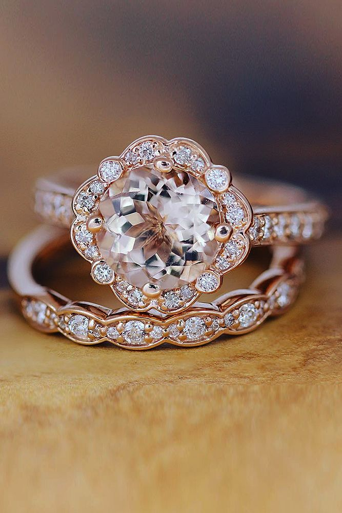 Morganite Rose Gold Ring, 2.00ct Round Morganite Engagement Ring, 14K Rose Gold Diamond Halo, Matching Wedding Ring, Peachy Morganite Ring