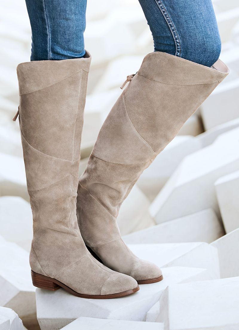 c4c2edc8704f Suede over-the-knee boot with back zipper