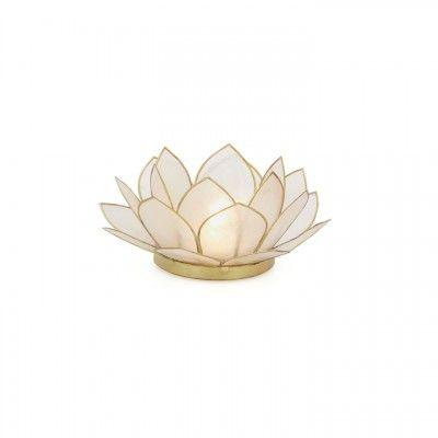 Beautiful Lotus Tea Candle Holder Capiz Shell Light Violet /& White Gold Trim