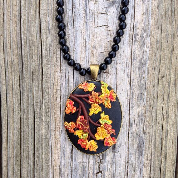 Autumn Polymer Clay Jewelry Leaf Necklace by ArtfulParadox on Etsy, $35.00