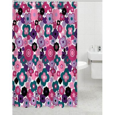 Daniels Bath Garden Polyester Shower Curtain Color: Pink
