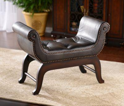 Remarkable Product Details Espresso Faux Crocodile Bench Home Decor Pabps2019 Chair Design Images Pabps2019Com