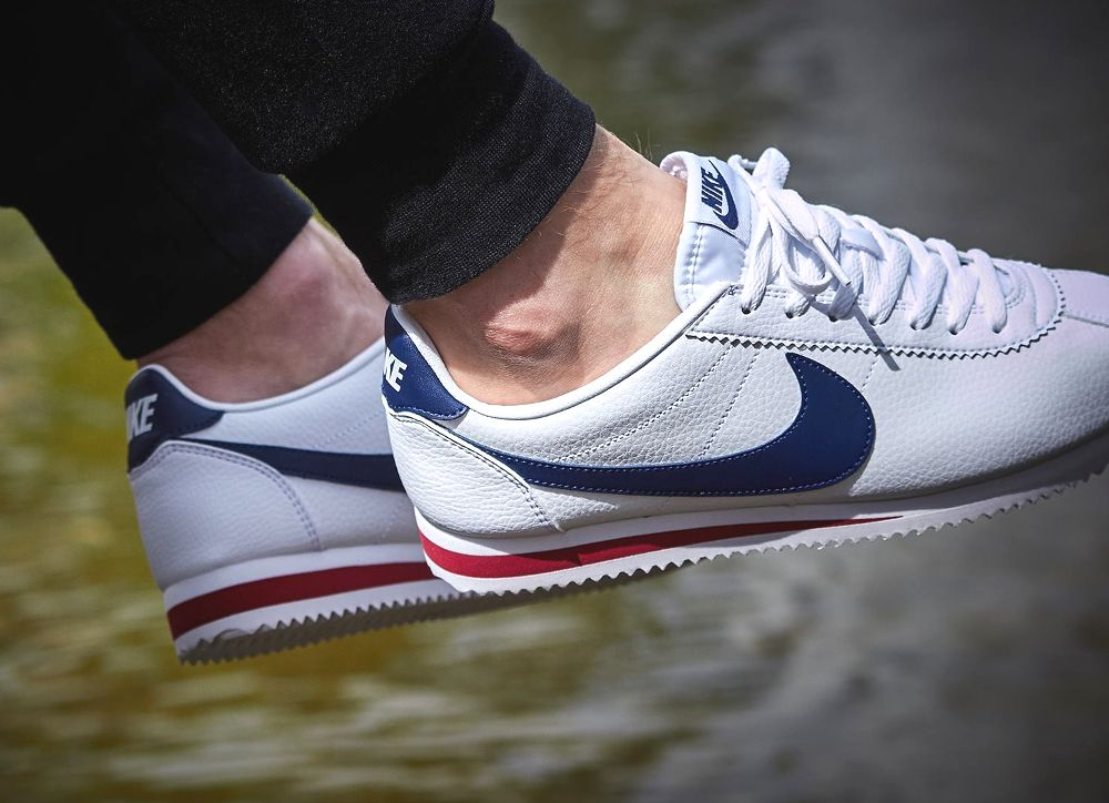 chaussure Nike Cortez Classic Leather White Midnight Navy Gym Red (3 ... d22b39f43