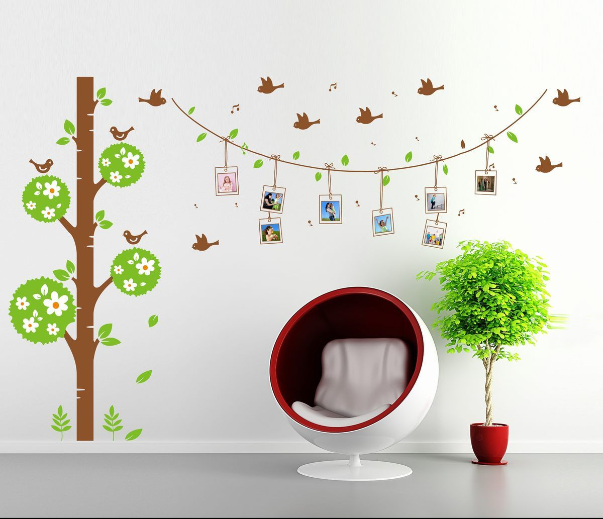 Photo Frame Flower Birds Removable Wall Stickers Vinyl Art Decal Room Home