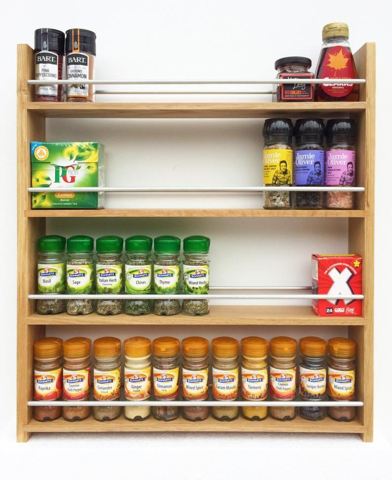 Woodworking Plans For Kitchen Spice Rack: Oak Spice Rack 4 Shelves For Wider Kilner Jars Bottles
