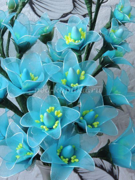 Как сделать цветок из капрона своими руками фото 561