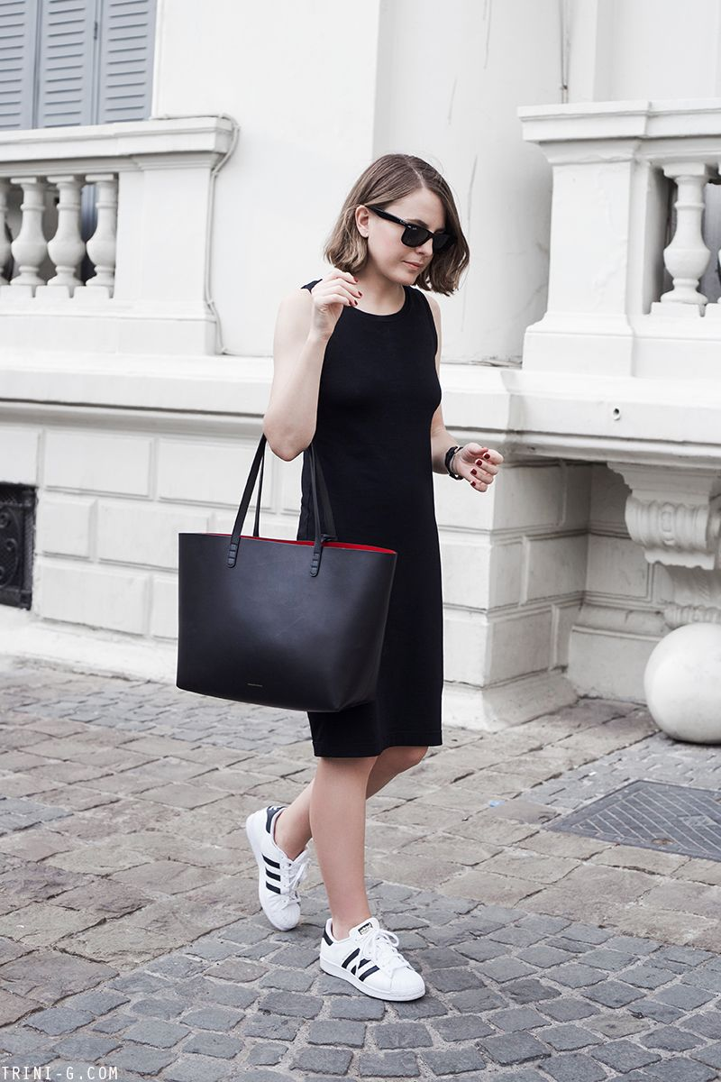 Black dress with adidas shoes - Trini Gap Black Midi Dress Adidas Superstar Sneakers Mansur Gavriel Bag